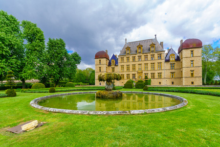 Fareins, France - May 05, 2019: View of the chateau de Flecheres and its gardens, Ain department, France