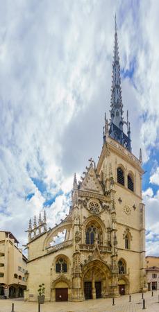 The facade of the church of Notre-Dame des Marais in Villefranche-sur-Saone, Beaujolais, Rhone department, France