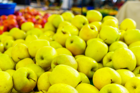Apples on sale in a French market, in Villefranche-sur-Saone, Beaujolais, Rhone department, France