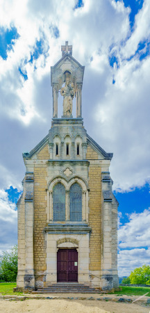 The chapel of Mont Brouilly, in Beaujolais, Rhone department, France