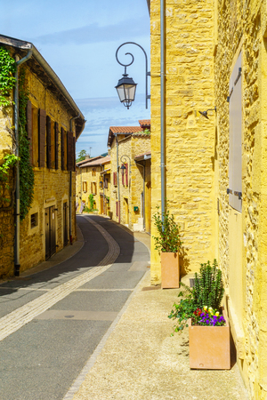 Street in the medieval village Oingt, in Beaujolais, Rhone department, France