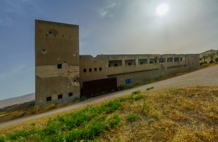 Gesher, Israel - June 04, 2019: The historic Gesher Police station building, from the British era, and battle site is the independence war of 1948. Northern Israel