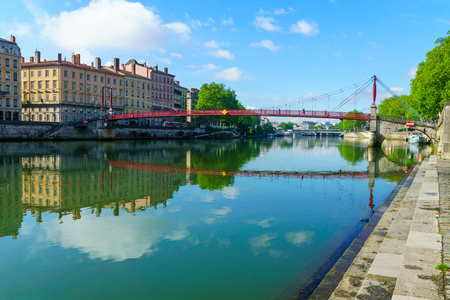 The Saone River, and Saint-Gorges bridge, in Old Lyon, France