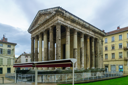 The Roman temple of Augustus and Livia, now in a square in the city Vienne, Isere department, France