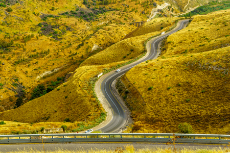 Landscape of the Golan Heights, winding road 98, and the Yarmouk River valley, near the border between Israel and Jordan Stockfoto