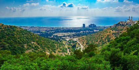 Panoramic view of the Carmel coast, Siach valley and the Ahmadiyya Shaykh Mahmud mosque, in Haifa, Israel