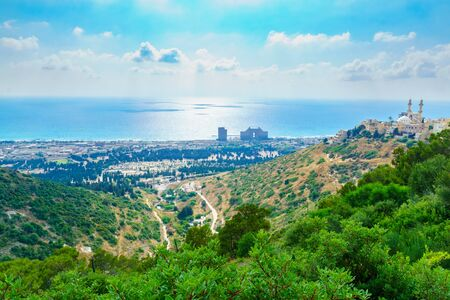 View of the Carmel coast, Siach valley and the Ahmadiyya Shaykh Mahmud mosque, in Haifa, Israel