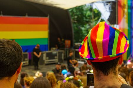 Haifa, Israel - June 28, 2019: Colorful hat and the crowd in the annual pride parade of the LGBT community, in the streets of Haifa, Israel Editorial