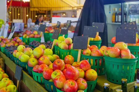 Apples and other fruits on sale in the Jean-Talon Market Market, Little Italy district, Montreal, Quebec, Canada