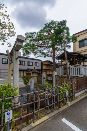 Takayama, Japan - October 2, 2019: View of a Shinto shrine in the old township of Takayama, Japan 報道画像