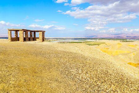 Desert landscape and observation point in the Sheizaf Nature Reserve, the Arava desert, southern Israel