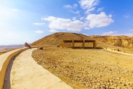 View of the Arava desert landscape, with an observation point, Southern Israel Banco de Imagens
