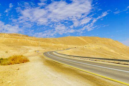 Landscape of the Arava desert and road 40. Southern Israel Banco de Imagens