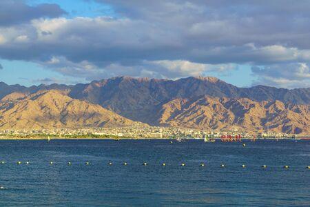 View from Eilat on the gulf of Aqaba and Aqaba (Jordan) Banco de Imagens