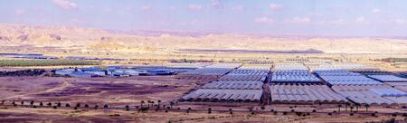 Panoramic view of countryside and desert landscape in Moshav Paran, the Arava desert, southern Israel