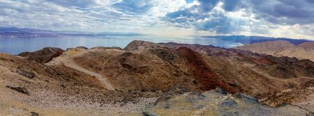 Panoramic view of Mount Tzfahot and the gulf of Aqaba. Eilat Mountains, southern Israel and Egypt