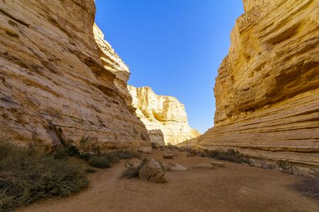 View of the Canyon of Ein Avdat National Park, the Negev Desert, Southern Israel