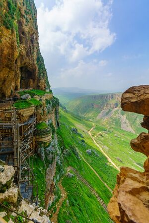 Remains of an ancient fortress on the cliffs of Mount Arbel, Northern Israel