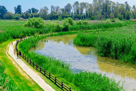 Hulata, Israel - May 07, 2020: View of a footpath and wetland, with visitors, in the Hula Nature Reserve, Northern Israel