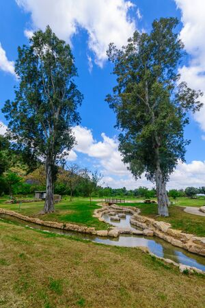 View of a picnic area, water canals and trees in Maayan Harod National Park. Northern Israel