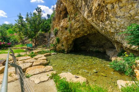 View of the Well of Harod (Harod Spring or Ayn Jalut) and the Gideon Cave, in Maayan Harod National Park. Northern Israel Фото со стока