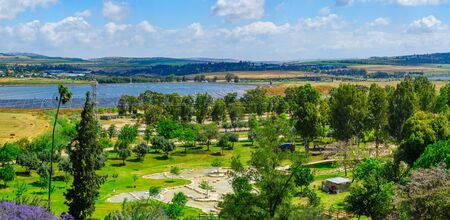 Panoramic landscape of Harod Valley and the Jezreel Valley, with Maayan Harod National Park. Northern Israel