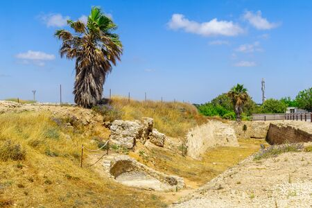 View of the city moat (crusader era), in Apollonia National Park (Tel Arsuf), Herzliya, Israel Stock Photo