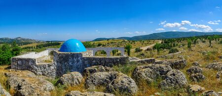 View of the Elkana Avi Shmuel Tomb (the father of the prophet Samuel), Meron, and Galilee landscape, Northern Israel