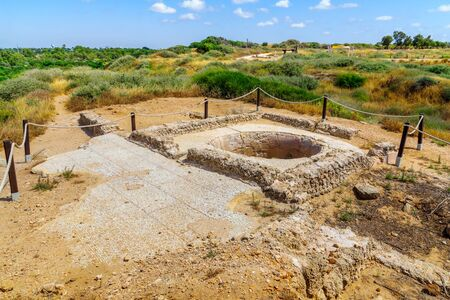 View of an ancient wine press, in Apollonia National Park (Tel Arsuf), Herzliya, Israel