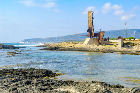 Memorial monument for the Maapilim (Jewish Immigrants), on the Achziv coast, Northern Israel