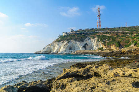 View of the coast and Rosh Hanikra cliffs, Northern Israel