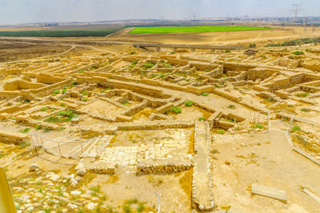 View of Tel Beer Sheva archaeological site, believed to be the remains of the biblical town of Beersheba. Now a site and national park. Southern Israel