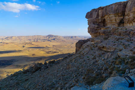 View of cliffs and landscape in Makhtesh (crater) Ramon, the Negev Desert, Southern Israel
