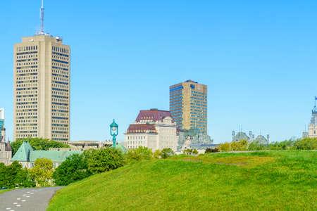 View of the Plains of Abraham park in Quebec City, Quebec, Canada Foto de archivo