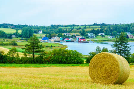 View of countryside and haystacks near French River, Prince Edward Island, Canada