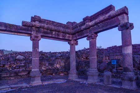 Blue hour (before sunrise) view of the remains of the synagogue of Chorazin (Korazim). Now a National Park in Northern Israel. According to Christian tradition, Jesus preached here and later cursed