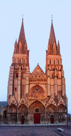 The facade of the Bayeux Cathedral, also known as Cathedral of Our Lady of Bayeux, in Normandy, France