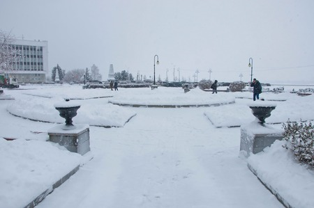 snowfalls: snowy day Stock Photo