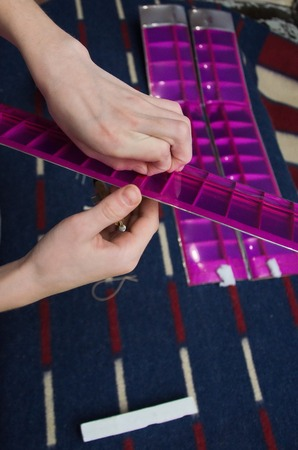 stabilizer: Assembling the model glider A-1 Stock Photo