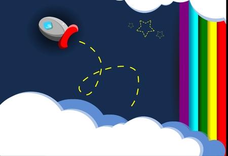 dark clouds: Rainbow sky rocket