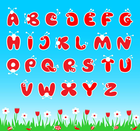 number of people: Bugs style latin alphabet abc for children. illustration.