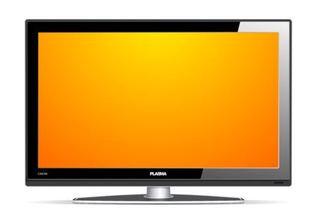 home cinema: illustration of plasma LCD TV on white background.