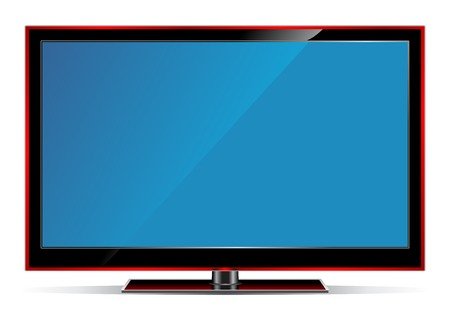 illustration of plasma LCD TV on white background. Vector