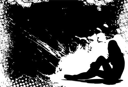 Girl dreaming of love grunge frame background illustration Vector