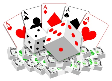 Simple gambling illustration of playing cards, dices and money on white background. Stock Illustration - 8877301