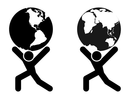 asia globe: Abstract man silhouette holding earth globe on shoulders illustration.