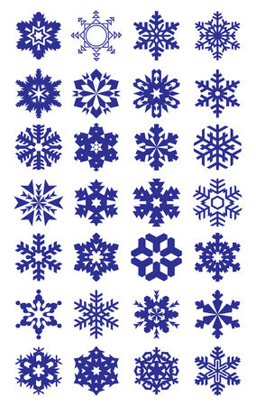 Collection of flakes isolated on white background. Illustration