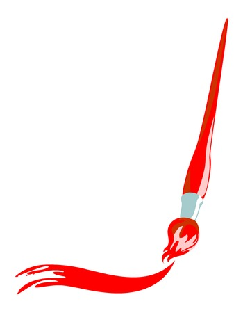 illustration of paintbrush with artistic stroke.