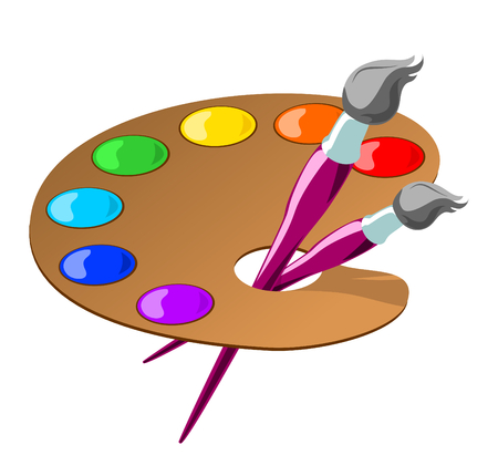 color illustration of paintbrushes and a palette with basic colors. Vector