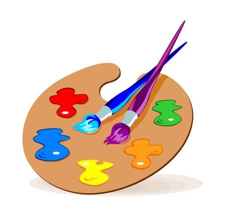 palet: Ilustraci�n de color de pinceles y una paleta con los colores b�sicos.